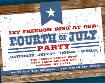 Fourth of July Invitation \ 4th of July Party Invitation - PRINTABLE Digital File