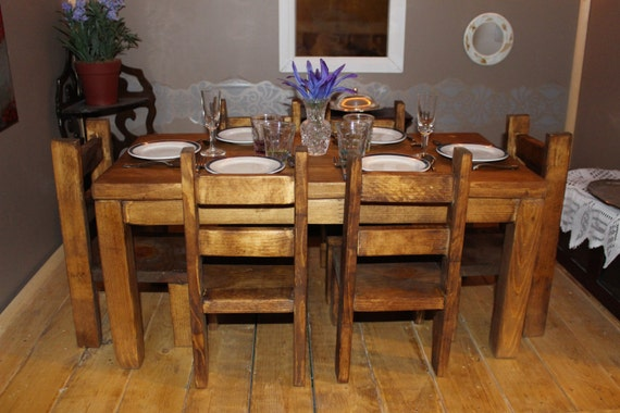 Items similar to early american stained dining room table for Dining room tables etsy