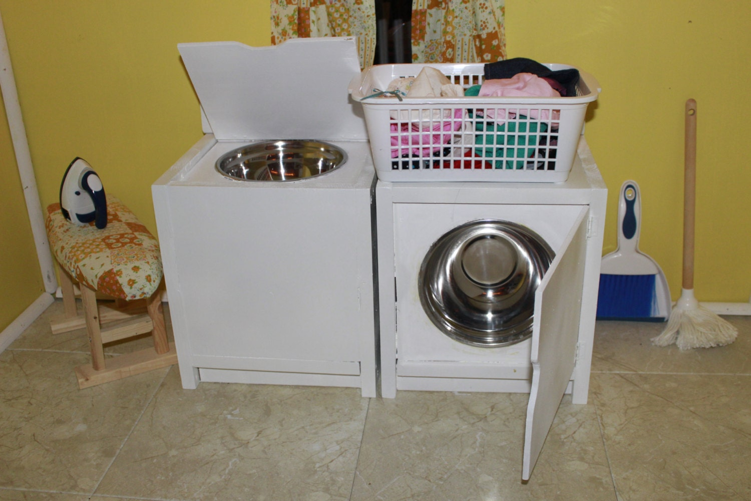 request a custom order and have something made just for you On wooden washer and dryer