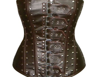 Real sheep leather steampunk style corset (brown and black). Gothic, steampunk, alt, overbust, real leather, metal, bdsm, bespoke corset.