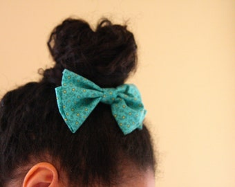 Adorable Green and Yellow Floral Hair Bow