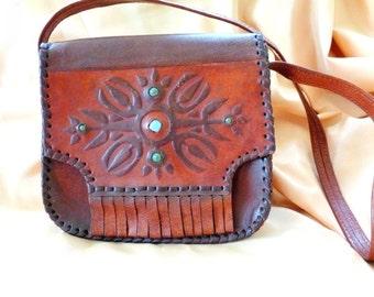 Leather Shoulder Bag, Hand Tooled Leather Bag, Leather Satchel Bag, Brown leather bag, Handmade hippie bag, Vintage brown leather bag