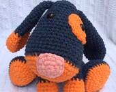 Crochet Puppy Stuffed Animal - Handcrafted and 100% Cotton, Navy Blue and Orange - SU/Syracuse University/Syracuse Orange Colors