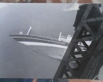 VTG Original Photo Snapshot Abstract Sunken Ship Boat Bridge