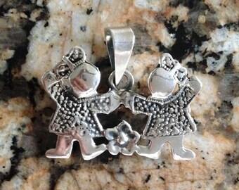Sterling Silver Twin Girls Pendant