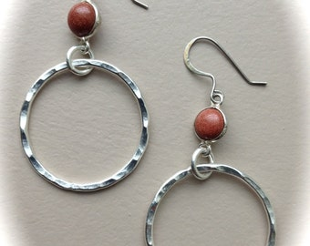 Silver Hammered Hoops and Gold Stone
