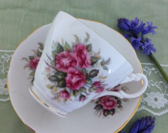Vintage teacup and saucer with floral spray