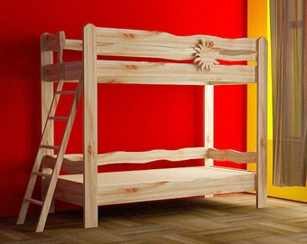 A wooden bunk bed