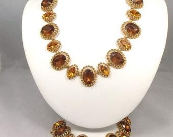 Elsa Schiaparelli Vintage Rhinestone Statement Necklace & Bracelet Set