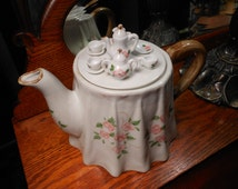 Whimsical Hand Painted Porcelain Teapot with Miniature Tea Service on Top and Pink Flower Pattern - Cottage and Shabby Chic Decor
