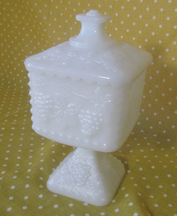 White/Milk Glass Pedestal Candy Dish with Lid by VintageEtcEtc