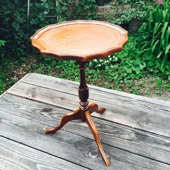 Vintage pie crust edge small wooden table by