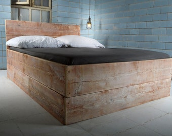 Handmade of bed from reclaimed wood SANNES