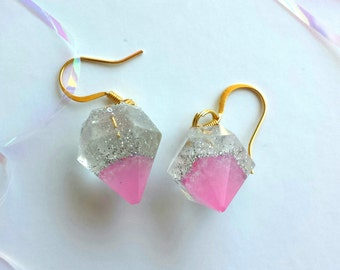 Pink Tipped Silver Glitter Diamond Resin Earrings