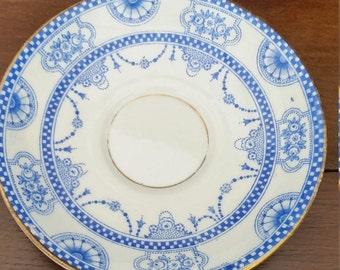 Edwardian blue and white saucer J S WILD
