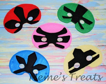 Deluxe Felt Mask -- Kids Mask -- Inspired by Power Rangers -- Costume – Dress-Up -- Halloween -- Pretend Play -- Party Favor