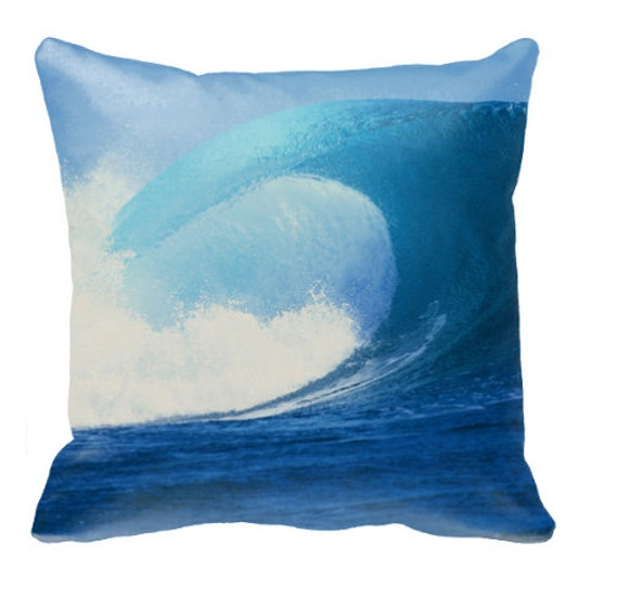 Tahiti Surfing Throw Pillow Case - Surf Image taken by photographer Jack English in French Polynesia