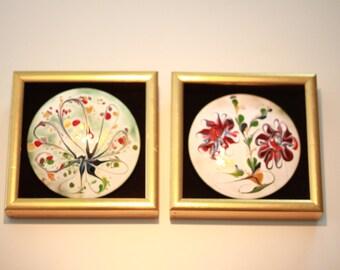 Reduced! Mid Century Modern Framed Enamels (Pair)