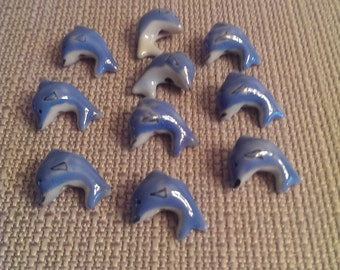 Tiny Porcelain Dolphin Beads 10 pieces