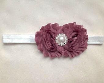 Mauve Flower & Pearl Headband