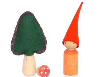 Gnome Play Set, Waldorf Inspired Eco Toy