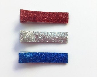 Patriotic 4th of July Red Blue Silver Glitter Hair/Bang Clips, Non Slip Grip