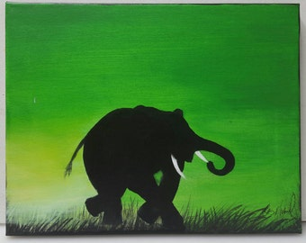 Silhouette of Elephant Painting