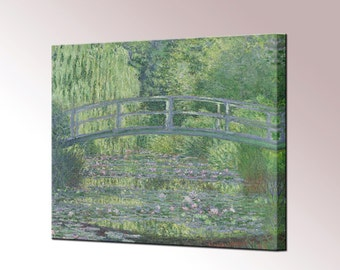 Water Lily Art - Claude Monet Water Lily Pond Green Harmony Canvas Wall Art Print in Sizes Ready To Hang