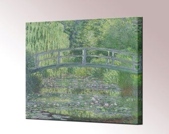 Claude Monet Water Lily Pond Green Harmony Canvas Wall Art Print Framed Ready To Hang Decor