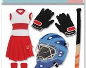 Free Shipping!!  Jolee's Boutique Field Hockey Stickers - SPJB451 - New in Package! - 9 pieces - Scrapbooking & Card Making - SNSC