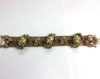 50s Gold Mesh Bracelet 50s | Faux Pearls Rhinestones