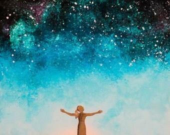 "Matted 5x7 Acrylic Print Painting: ""Stargazer"""