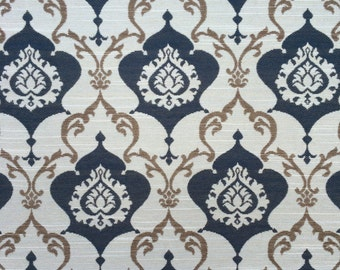 Upholstery Fabric by the Yard - Modern Damask - Home Decor - Blue, Tan, Cream