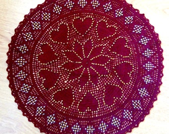 Heart patterned tablecloth with pearls (handmade crochet)