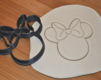 Minnie Mouse Cookie Cutter with Detailed Bow - 3D Printed Plastic - Choose Size