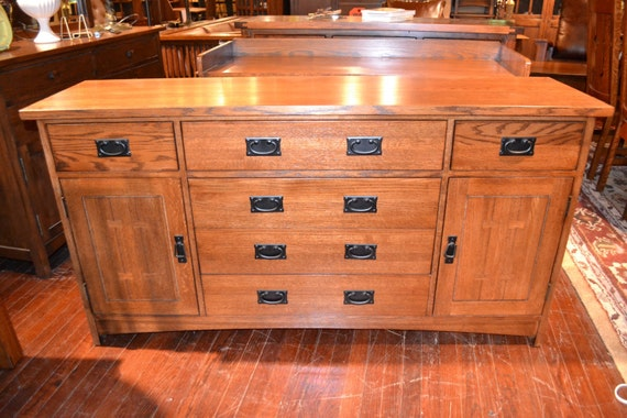 mission solid oak sideboard buffet server by