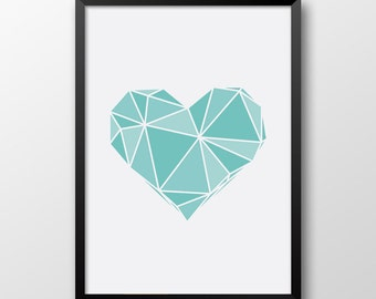 Tint Heart Print, Geometric heart, Tint Home decor, Printable Heart, Turquoise wall art, Light blue print 174