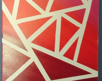 Abstract modern red canvas painting