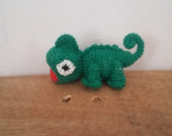 mini crochet chameleon
