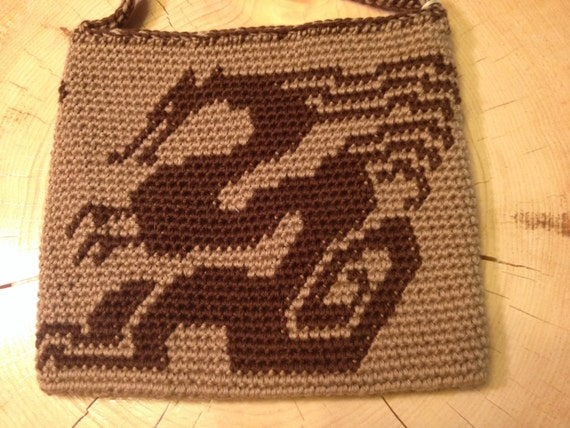 Tapestry Crochet Bag : Tapestry Crochet Dragon Bag by byNijii on Etsy