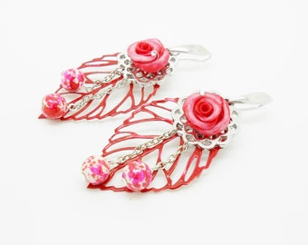 marriage: earrings with roses and leaves