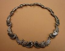 Stunning Vintage 19402 Los Castillo Fish Dolphin Sterling Silver Signed Necklace Choker