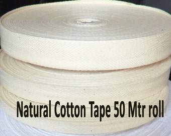 Natural Beige Cotton Tape Herringbone Tape Binding Trimming Edging Bunting Packaging Gift Wrap Strap 50 meter Roll