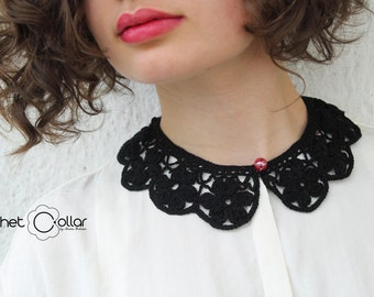 Black Flower Lace Crochet Collar with Pearl Button