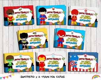 Superhero Thank You Tags Card, Printable Instant Download, Thank you tags, Gift Tags,Party Supplies, Superhero party