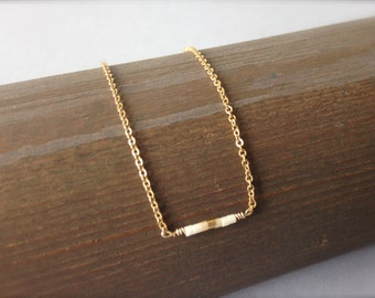 """Tiny gold filled beaded necklace / Delicate layering 16"""" necklace / White and gold"""