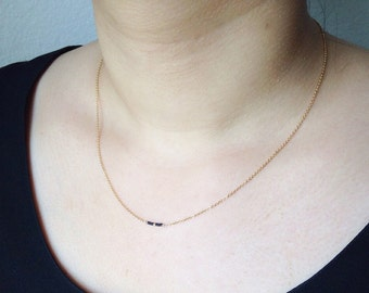 "Delicate gold filled beaded necklace / Tiny layering 16"" necklace / Black and gold"