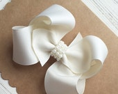 Flower Girl Bow, Boutique Hair Bow, White/Ivory Hair Bow, Flower Girl Accessories