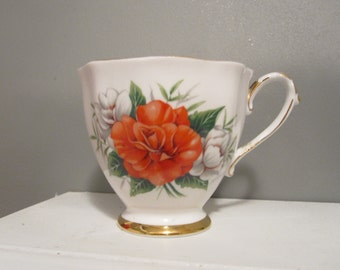 Red Floral Tea Cup Candle