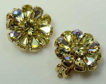 Dazzling Weiss AB-coated Golden Glass Rhinestone Clip Earrings